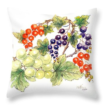Black And Red Currants With Green Grapes Throw Pillow by Nell Hill