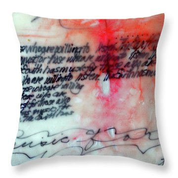 Throw Pillow featuring the painting Black And Red Encaustic 1 by Nancy Merkle