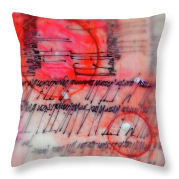 Throw Pillow featuring the painting Black And Red Encaustic 3 by Nancy Merkle