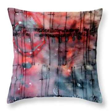 Throw Pillow featuring the painting Black And Red Encaustic 4 by Nancy Merkle