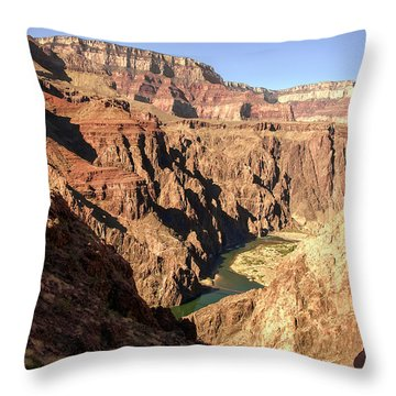 Black And Silver Bridges Spanning The Colorado River  Grand Canyon National Park Throw Pillow