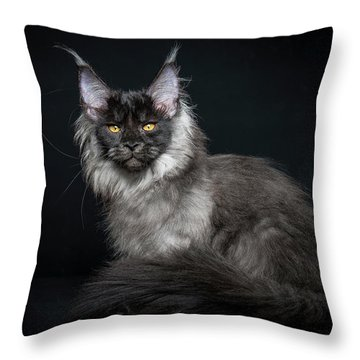 Black And Smoke Throw Pillow