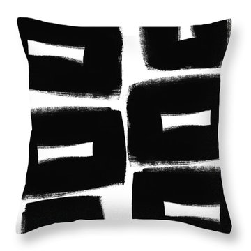 Black And White Abstract- Abstract Painting Throw Pillow