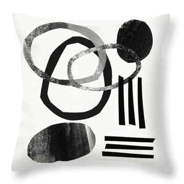 Black And White- Abstract Art Throw Pillow