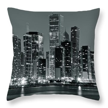 Throw Pillow featuring the photograph Black And White And Grey Chicago Night by Frozen in Time Fine Art Photography