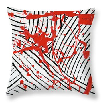 Black And White And Red All Over 1 Throw Pillow
