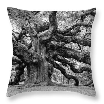 Throw Pillow featuring the photograph Black And White Angel Oak Tree by Louis Dallara