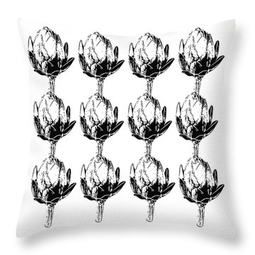 Black And White Artichokes- Art By Linda Woods Throw Pillow by Linda Woods