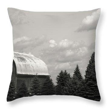 Black And White Barn Throw Pillow by Joann Copeland-Paul