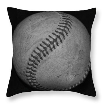 Black And White Baseball Throw Pillow by Rob Hans