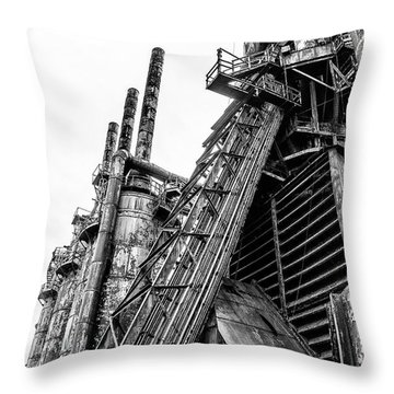Black And White - Bethlehem Steel Mill Throw Pillow by Bill Cannon