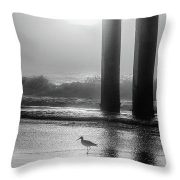 Throw Pillow featuring the photograph Black And White Bird Beach by John McGraw