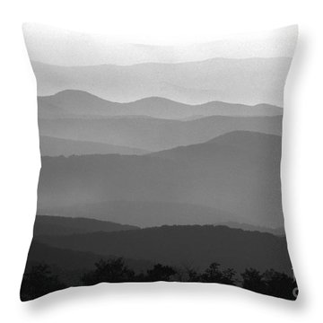 Black And White Blue Ridge Mountains Throw Pillow