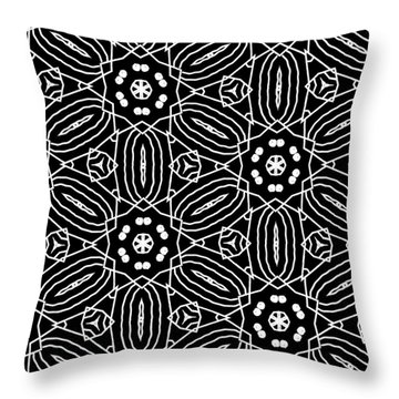 Black And White Boho Pattern 2- Art By Linda Woods Throw Pillow