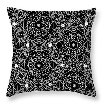 Black And White Boho Pattern 3- Art By Linda Woods Throw Pillow