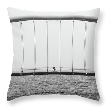 Throw Pillow featuring the photograph Black And White Bridge by MGL Meiklejohn Graphics Licensing