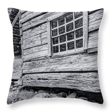 Black And White Cabin In The Forest Throw Pillow