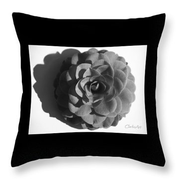 Camellia In Black And White Throw Pillow