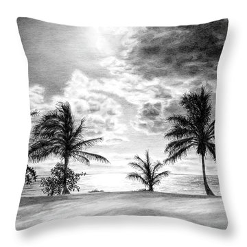 Black And White Caribbean Sunset Throw Pillow