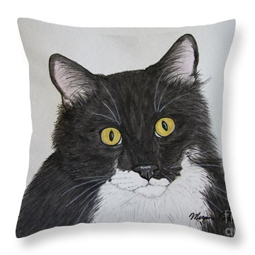 Black And White Cat Throw Pillow by Megan Cohen