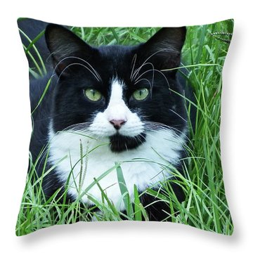 Black And White Cat With Green Eyes Throw Pillow