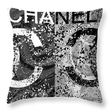 Black And White Chanel Art Throw Pillow