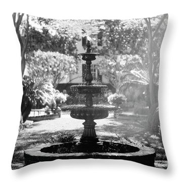 Throw Pillow featuring the photograph Black And White Charleston Fountain by Heather Green