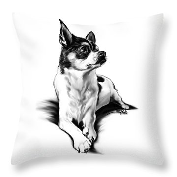 Black And White Chihuahua By Spano Throw Pillow by Michael Spano