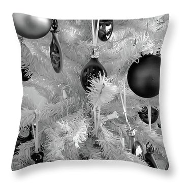 Throw Pillow featuring the photograph Black And White Christmas Tree Ornaments by Aimee L Maher Photography and Art Visit ALMGallerydotcom
