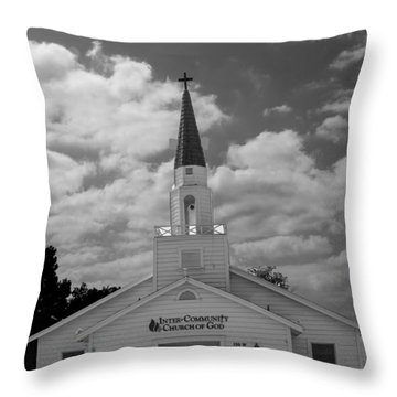 Black And White Church Throw Pillow by Robert Hebert