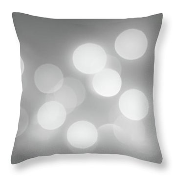 Black And White Circle Abstract  Throw Pillow by Terry DeLuco
