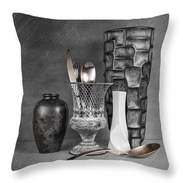 Black And White Composition Throw Pillow