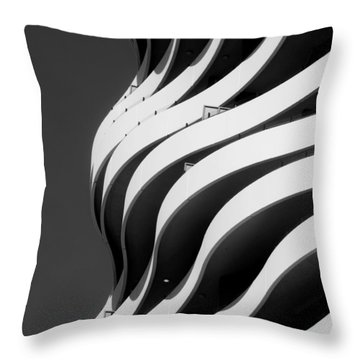 Black And White Concrete Waves Throw Pillow