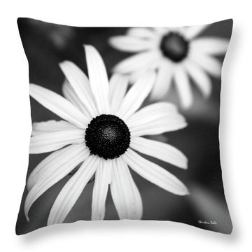 Throw Pillow featuring the photograph Black And White Daisies by Christina Rollo