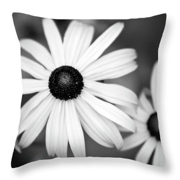 Throw Pillow featuring the photograph Black And White Daisy by Christina Rollo