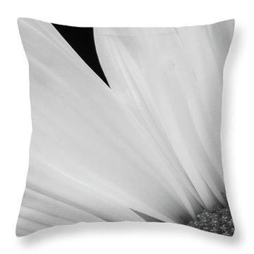 Black And White Daisy Flower Peeking Throw Pillow