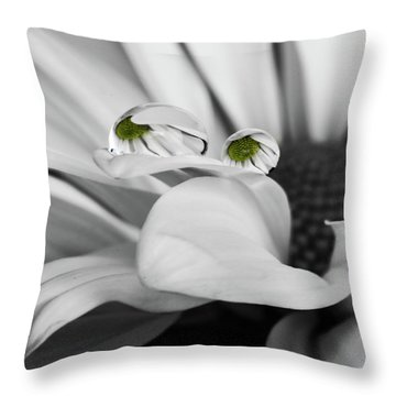 Black And White Daisy Water Throw Pillow