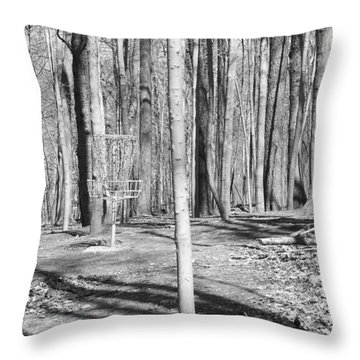 Black And White Disc Golf Basket Throw Pillow by Phil Perkins