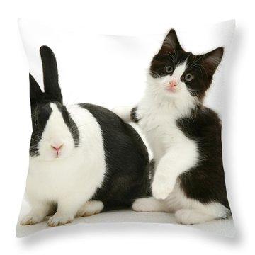 Black And White Double Act Throw Pillow