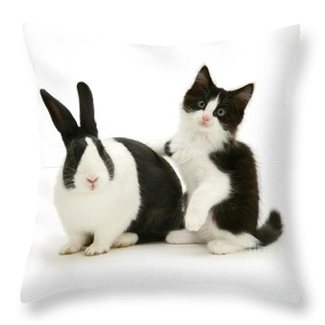 Black And White Double Act Throw Pillow