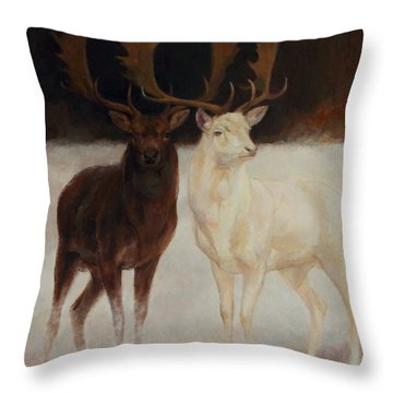 Black And White Fallow Deers Throw Pillow
