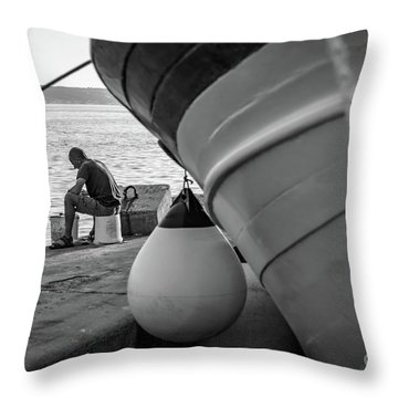 Black And White - Fisherman Cleaning Fish On Docks Of Kastel Gomilica, Split Croatia Throw Pillow