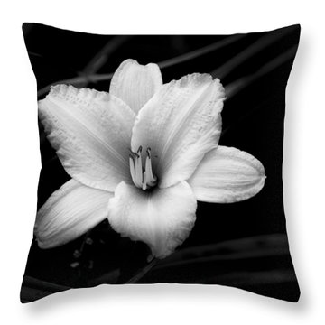 Throw Pillow featuring the photograph Black And White Flower Twenty by Kevin Blackburn