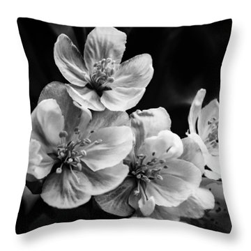 Black And White Flowers Throw Pillow by Jay Stockhaus
