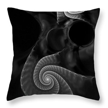 Black And White Fractal 080810 Throw Pillow by David Lane