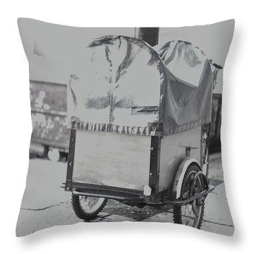 Black And White German Stroller Throw Pillow