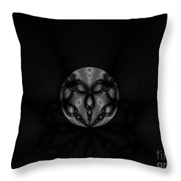 Black And White Globe Fractal Throw Pillow