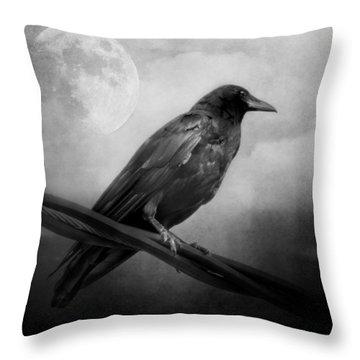 Black And White Gothic Crow Raven Art Throw Pillow