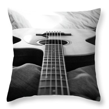 Throw Pillow featuring the photograph Black And White Guitar by MGL Meiklejohn Graphics Licensing