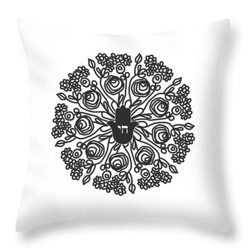 Throw Pillow featuring the mixed media Black And White Hamsa Mandala- Art By Linda Woods by Linda Woods